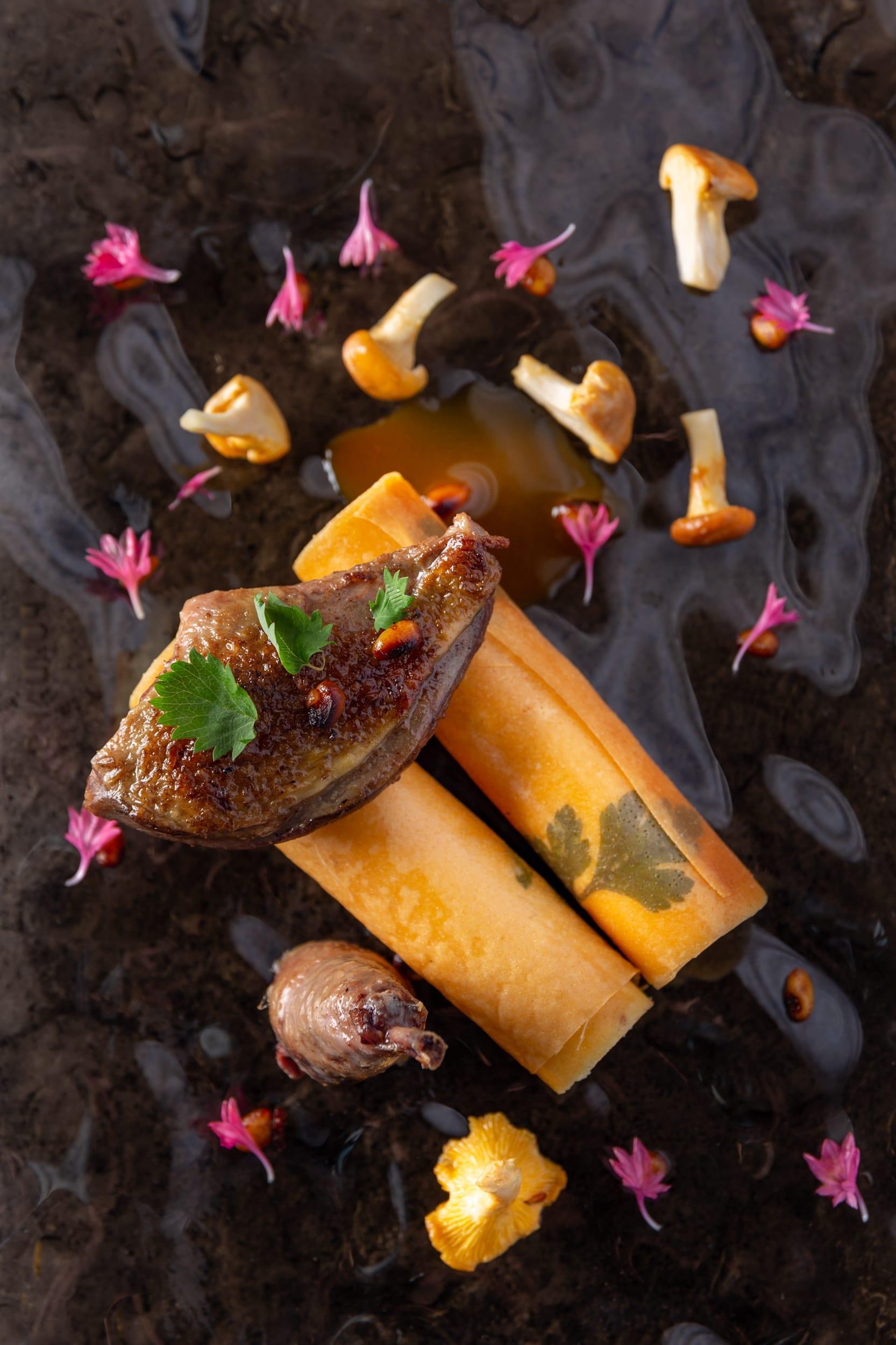 Canard et champignon du restaurant La Tour à Espalion menu